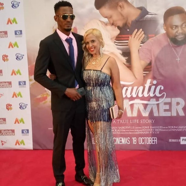 Emmanuel Igwe and Nash Baskerville attend the premiere of 'Romantic Scammer' in Lagos, Nigeria.