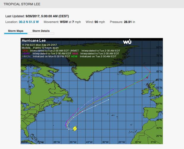 Predviđeno kretanje uragana Li
