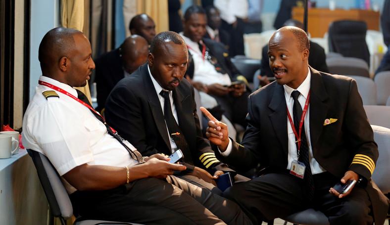 Some of Kenya Airways Captains at a pilots strike organised by KALPA at the Jomo Kenyatta International airport.