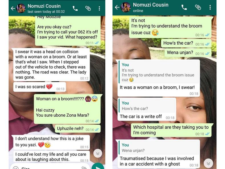 Moozlie texts after accident