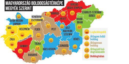magyarország térkép komárom Kiderült, melyik a legboldogabb város Magyarországon, sőt mutatjuk  magyarország térkép komárom