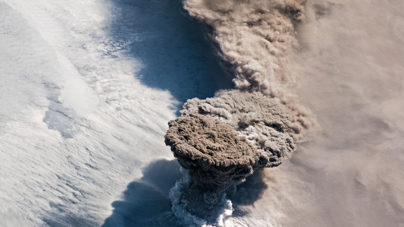 Space Station Photo of Raikoke Volcano Erupts on Web