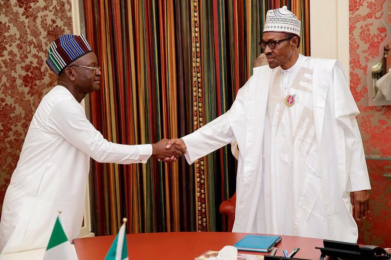 Benue State governor, Samuel Ortom with President Muhammadu Buhari