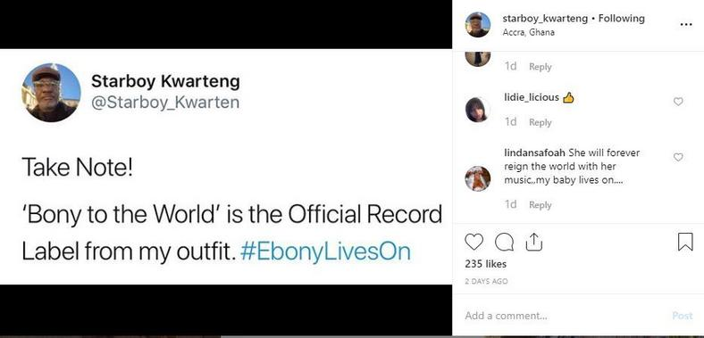 Starboy Kwarteng's new record label