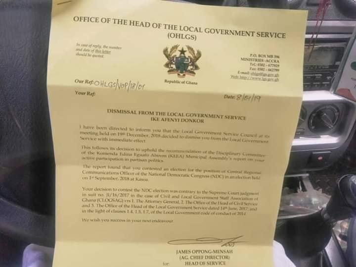 NDC man dismissed from Local Government Service for engaging in partisan politics