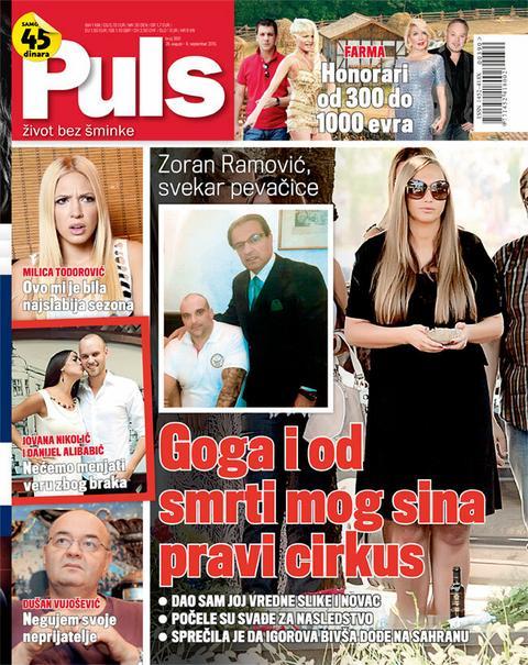 """NOVI BROJ """"PULS""""  Zoran Ramović, svekar pevačice: Goga i od  smrti mog sina pravi cirkus"""