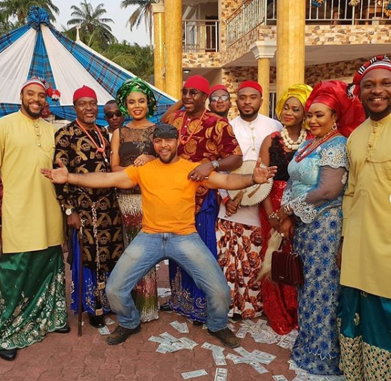 Ramsey Nouah with cast of 'Living in bondage: breaking free'