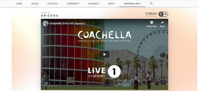 'COACHELLA 2019' is at the top of Coachella's YouTube page. (YouTube/Coachella)