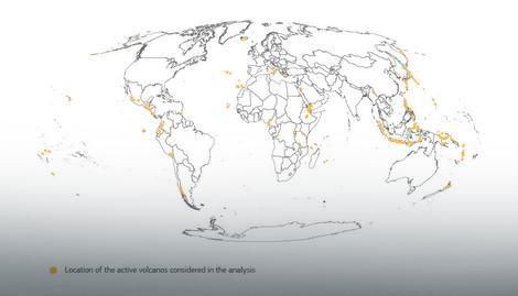 Lokacije aktivnih vulkana na osnovu istraživanja