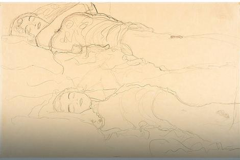 "Gustav Klimt, ""Dve ležeće figure"""