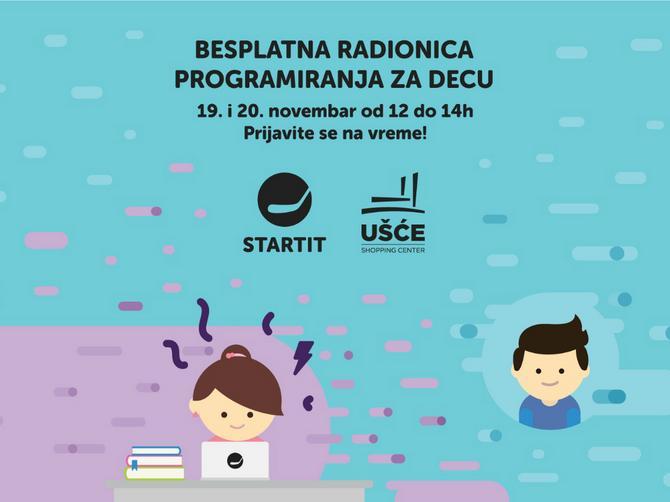 """Besplatni časovi programiranja za mališane u šoping centru """"UŠĆE"""""""