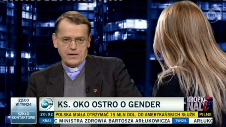 Ks.OKO w TVN 24, fot. screen z tvn24.pl