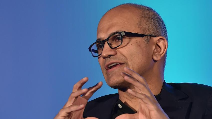 Microsoft CEO Satya Nadella talks during a news conference in Bengaluru
