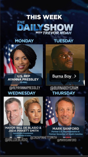 The Daily Show guests for Tuesday, August 13, 2019. (Instagram/TheDailyShow)