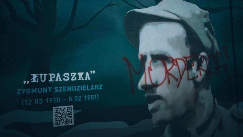"""Zniszczony mural Zygmunta Szendzielarza ps. """"Łupaszko"""""""
