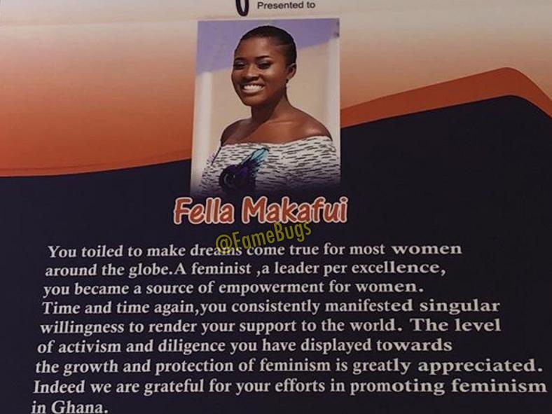 Fella Makafui's citation of honour