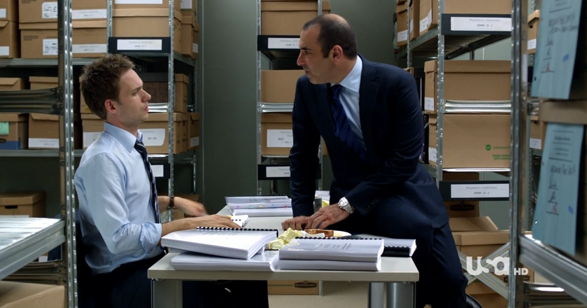 """W garniturach"", serialowy Mike Ross i Louis Litt"
