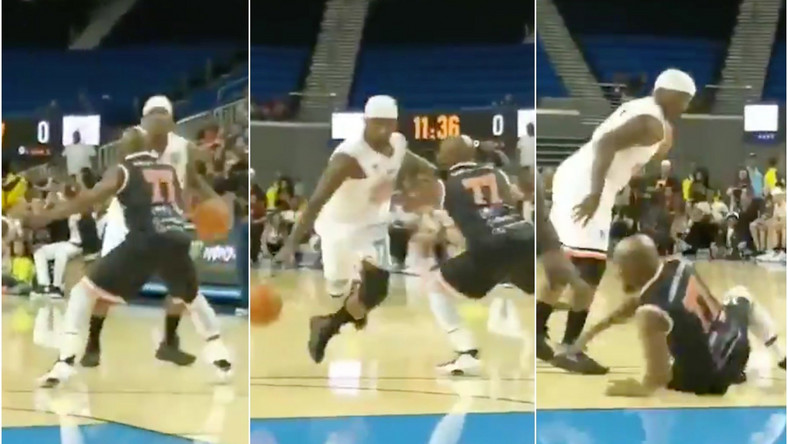 Floyd Mayweather Jr crossed up in charity basketball game