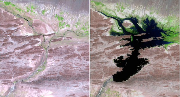 Pakistanská Dasht River v auguste 1999 vs. v júni 2011. (Foto: NASA)