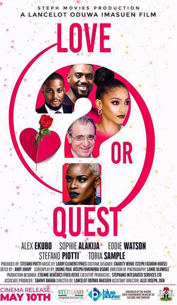 Alex Ekubo, Sophie Alakija, and Eddie Watson have featured in a new movie, 'Love or Quest.' [SilverbirdCinemas]