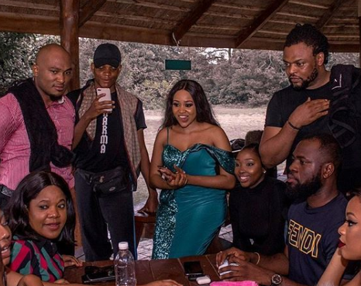 Members of cast and crew on the set of the movie, 'Made in Heaven'. [peekaboo consult]