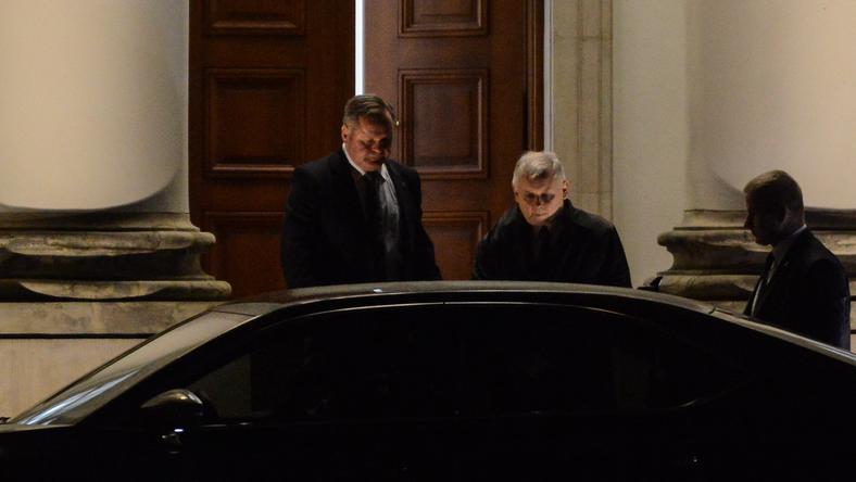 Prezes Prawa i Sprawiedliwości Jarosław Kaczyński po spotkaniu z prezydentem Andrzejem Dudą w Belwederze