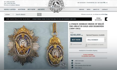 Orden Kneza Miloša na aukciji