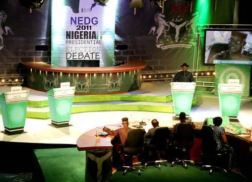 Goodluck Jonathan took to the podium alone for the 2011 presidential debate organised by NEDG