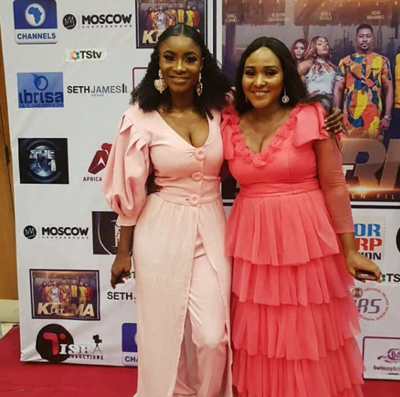 Aisha mohammed and a guest at the premiere of 'Let Karma.'