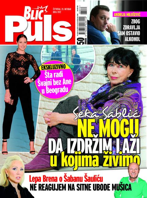 BLIC PULS! Seka Sablić: Ne mogu da izdržim laži u kojima živimo!