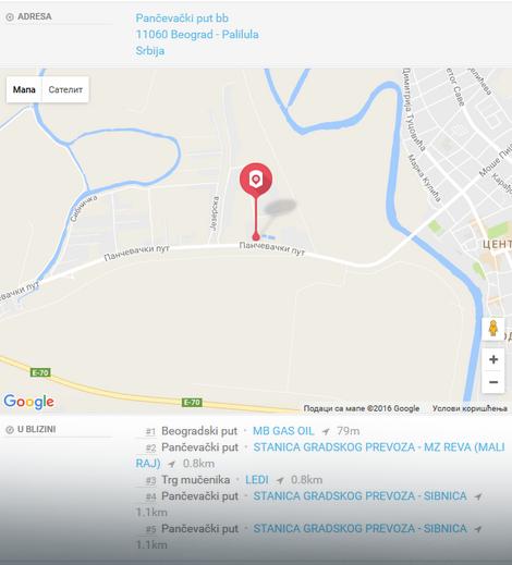 Lokacija autobuske stanice Reva (Duboka bara), autobuske linije 108