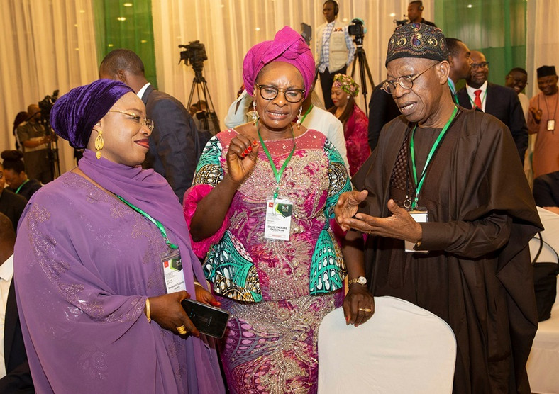 L-R: Ramatu Tijani, Pauline Tallen and Lai Mohammed have been sworn in as ministers for President Muhammadu Buhari's second term [Presidency]