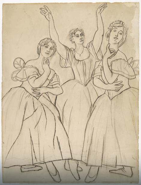 Tri igračice: Olga Hohlova, Lidija Lopukova i Ljubov Černičeva, 1919.