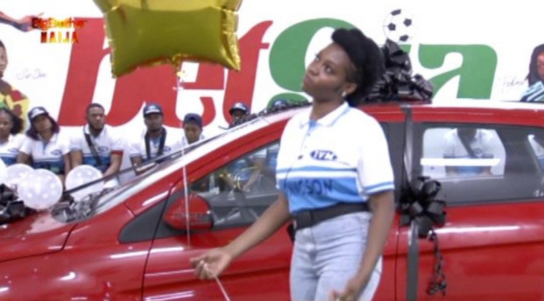 Khafi poses with her newly won car after the Innoson challenge. [Twitter/BBNaija]