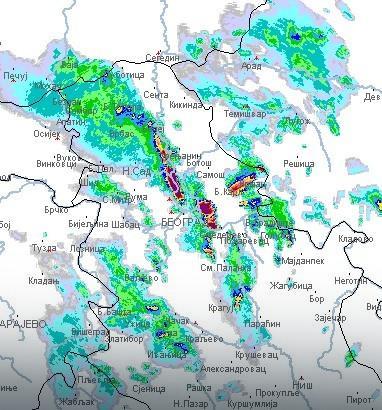 Radarska slika nad Srbijom u 13.34
