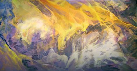 """Peščana Zemlja"", diptih, ulje na platnu, 125x240, 2013."