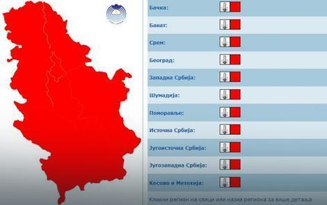 Srbija u crvenom meteoalarmu