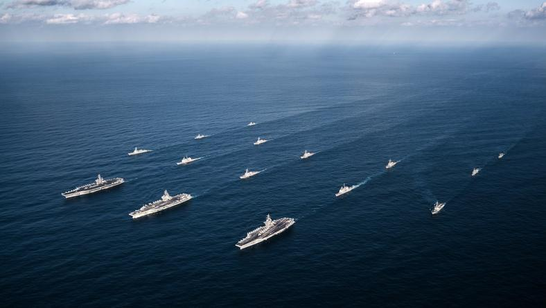 AT SEA WESTERN PACIFIC USA DEFENSE (US carrier strike group in the Western Pacific)