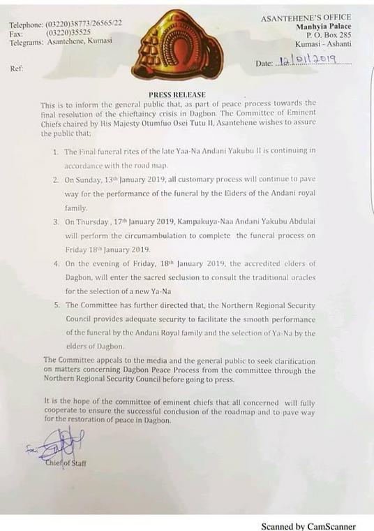 Yaa Naa Yakubu Andani II's funeral to continue despite disturbances- Otumfuo led committee