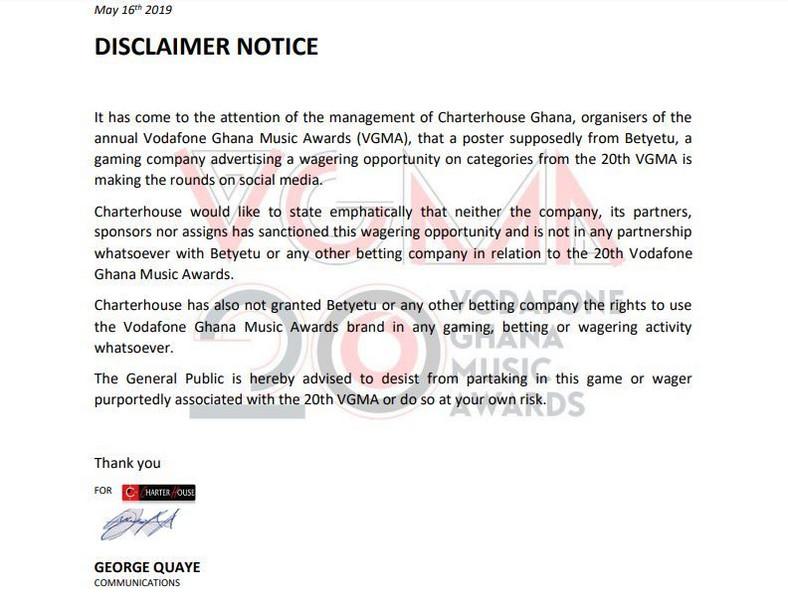 Charterhouse Disclaimer
