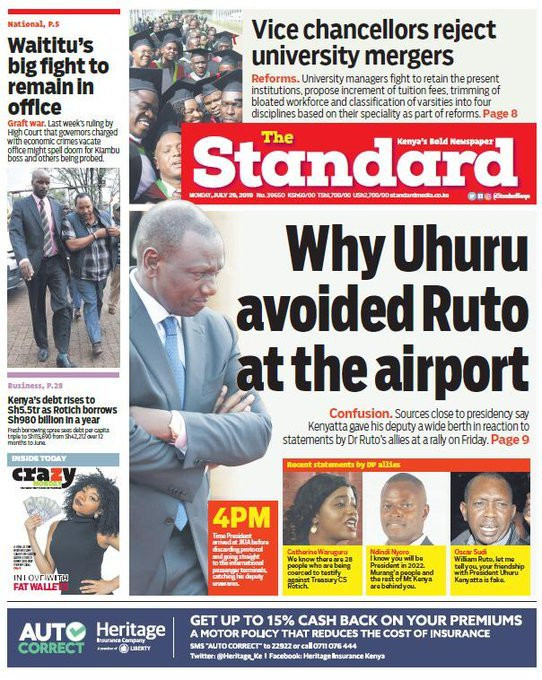 Top Image of the Standard Newspaper on that was faulted by DP Ruto