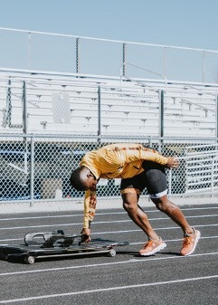 Akwasi Frimpong pushing a skeleton sledge during training. Picture by Christina Wilson September 2019, Utah, USA