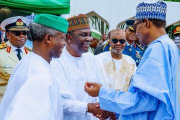 President Buhari, VP Osinbajo and former military ruler Gowon at the commemoration of Nigeria's 59th independence anniversary  (Bashir Ahmad)