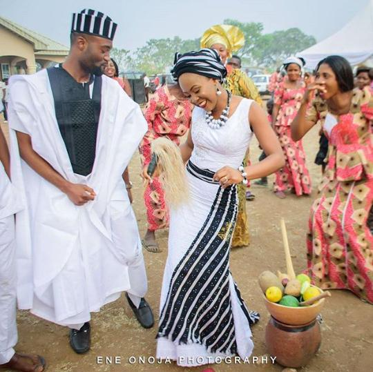 Tiv couple in traditional attire on wedding day [Poontoe]