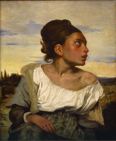 Mlada žena na groblju