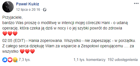 Paweł Kukiz on Facebook