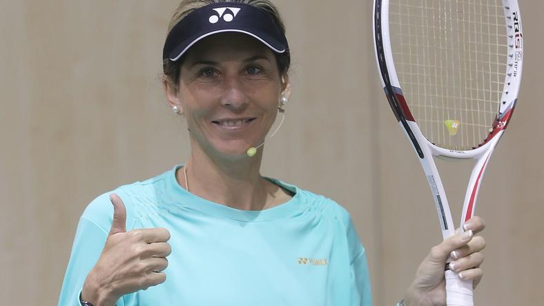 Szeles Mónika a Magyar Tenisz Napján adott interjút a Blikknek /Fotó: Gy. Balázs Béla