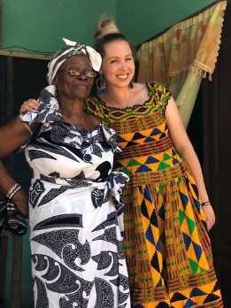 Erica Frimpong the wife of Olympian Akwasi Frimpong on the right meets Frimpong's Grandma Minka in Kumasi, Ghana May 19, 2019