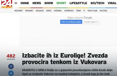 Naslov na portalu 24sata.hr