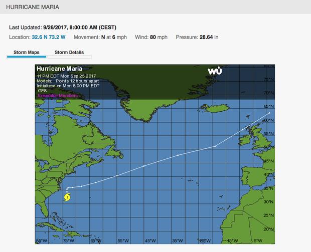 Predviđeno kretanje uragana Marija